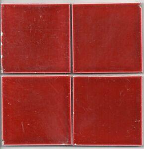 Red Burgundy Original antique reclaimed Field tile set of 4 3'x3'