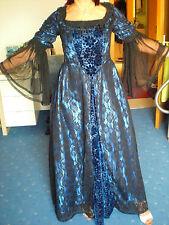 Langes Gothik Mittelalter Romantik Kleid Samt in Schwarz/Blau Größe 38