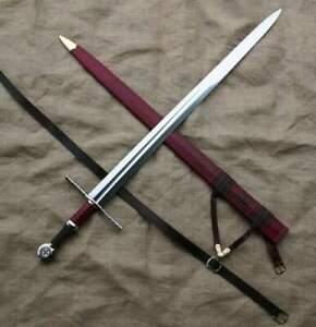 LONG Sword Viking Sword & Scabbard,Hand Made High Carbon D2 Steel Blade.39/