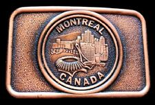Montreal City Skyline Quebec Canada Olympic Stadium Downtown Belt Buckle