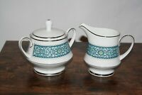 Noritake Larue Sugar Bowl W/ Lid & Creamer Fine China Japan Blue Scroll Platinum