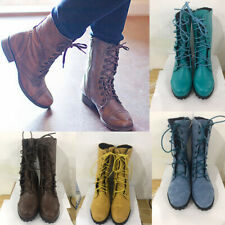 Women Vintage Combat Lace Up Low Heel PU Leather Motorcycle Short Ankle Boots