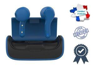 Écouteurs Stéréo Bluetooth Sans Fil Portée 10 Mètres Avec Station Accueil Bleu