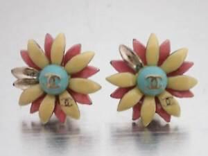 Auth CHANEL CC Logo Pierce Earrings Yellow/Pink/Goldtone Enamel/Metal - e45729