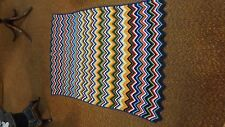 Vintage Hand Made Crochet Multi Color Zig Zag Chevron Afghan Blanket BLUE GREEN