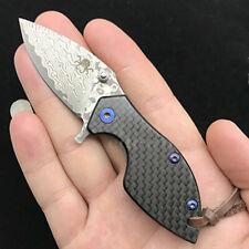 Damascus Blade Titanium + Carbon Fiber Handle Mini Outdoor Pocket Folding Knife