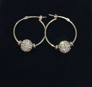 Goldmark Sterling Silver Hoop Earrings  With Crystal Bead