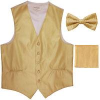 New Men's Formal Vest Tuxedo Waistcoat_bowtie & hankie set stripes gold party
