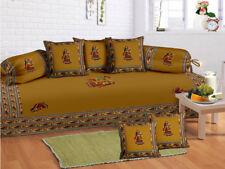 Indian Rajasthani Yellow Diwan Set Diwan Cover Cushion Covers Bolster Covers