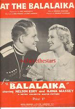 "BALALAIKA Sheet Music ""At The Balalaika"" Nelson Eddy Ilona Massey BRITISH"