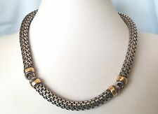 Fashion Sterling Silver and 18K Gold Bismark Round Chain Necklace 90.2 Gr Italy