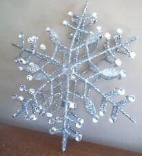 Pottery Barn tea light Snowflake candle lantern Beaded silver Christmas decor