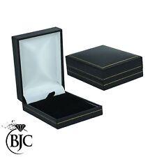 BJC® Black Leatherette & Velvet Pendant Gift Presentation Box Gold Stripe New