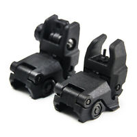 Tactical Rifle Folding Front & Rear Sight Mechanical Flip Sight Weaver Rail