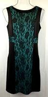 Women's Sleeveless Sheath Dress Black Green Stretch Size 8 New