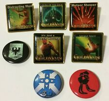 5 Guild Wars Collectible Skill Pins & 3 Pin Back Buttons