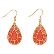 """2"""" Shimmery Orange Peach Foil Teardrop Gold Tone Fashion Jewelry Dangle Earrings"""