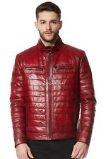 Chaqueta para hombre de cuero suave rojo napa Motociclista Motocicleta Acolchado Estilo 9050