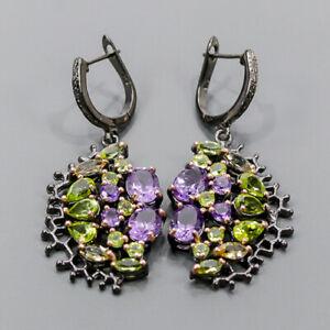 Handmade SET Amethyst Earrings Silver 925 Sterling   /E55068