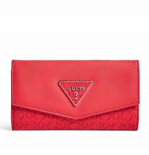 GUESS Wallet Women's NWT Red Logo Embossed Faux Leather Slim Tri-Fold Wallet