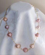 Necklace Japanese KASUMI PEARLS White TOPAZ 24K Gold Vermeil on 925 Silver