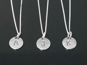 Sterling Silver Initial Disc Personalised Letter Monogram Alphabet Pendant Charm