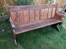 More details for old antique church pew bench / settle bench