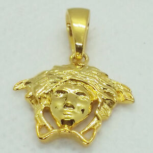 "14K Yellow Gold Over Silver Medusa Head Symbol Pendant 18"" chain Necklace Gift"