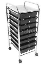8 TIER BLACK PLASTIC DRAWER TROLLEY KITCHEN OFFICE SALON HAIRDRESSER BEAUTY