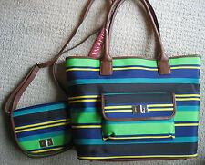 MERONA Saddle Green Stripe TOTE BAG & SHOULDER BAG  NEW!