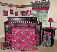 Baby Boutique - Hot Pink Zebra - 14 pcs Crib Bedding Set incl. Music Mobile