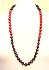 "Pearl long bead Necklace Fair trade Xmas 90 cm 35"" long Black Red Purple glass"