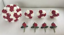 WEDDING PACKAGE ARTIFICIAL FLOWERS FOAM ROSE WEDDING BOUQUETS RED & IVORY BRIDE