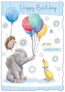 Happy Birthday. Elephant, Hedgehog, Duck, Balloon Open Birthday Card