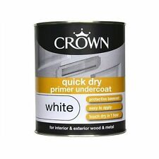 Crown 750ml Quick Dry Primer Undercoat Paint White Interior Exterior Wood Metal