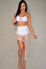 Abito aperto gonna top Retato nudo aderente Bralette Fishnet Two-piece Skirt Set