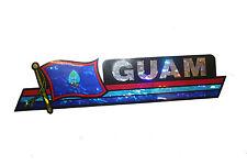 GUAM LONG COUNTRY FLAG  METALLIC BUMPER STICKER DECAL .. 11.75 X 3 INCH