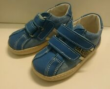 BABY Jungen Schuhe Kinder Sneakers MADE IN ITALY Gr. 20 Blau LEDER NEU Klett