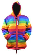 Rainbow themed Handmade Fleece Lined Winter unisex thick heavy woolen Jacket
