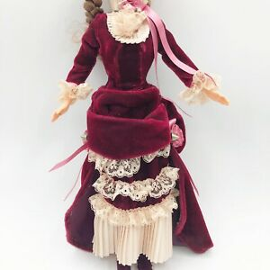 DRESS BARBIE DOLL VICTORIAN LADY CREAM BURGUNDY EVENING GOWN ACCESSORY CLOTHING