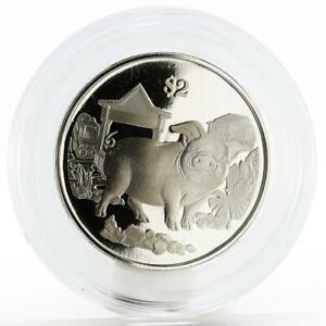 Singapore 2 dollars Lunar Calendar series Year of the Pig nickel coin 2019
