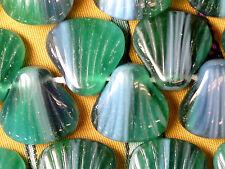 vtg 30 AQUA GREEN GIVRE SEA SHELL GLASS SUMMER SPACER BEADS 15mm #060815v