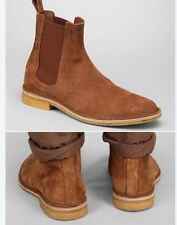 New Handmade Mens Brown Chelsea Suede Leather Boots, Men suede leather boot