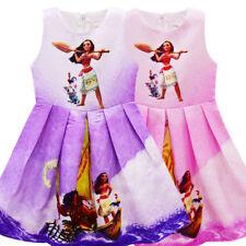 Moana Kids Girls Halloween Cosplay Party Beauty Sleeveless Dress Sundress