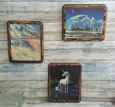Sue Dawe Unicorns, lot of three lacquered on wood unicorns, unicorn wall art