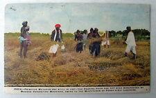 1909 Postcard India Primitive Harvesting Methods Superseded Modern Machines #6f