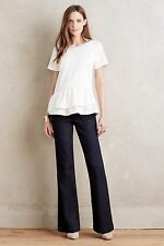 ANTHROPOLOGIE Pilcro Womens 25 Petite Flared Trousers $158 Dark Wash Denim EUC