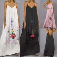 Women Boho Floral Sleeveless Maxi Plus Size Kaftan Swing A Line Party Long Dress