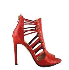 AU 8.5 Red Stilleto Sandals Shoes Multi Strap Caged Strappy Gladiator High Heel