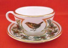 SPODE CHRISTMAS HOLLY BERRIES ROBIN BIRD GOLD MINIATURE CHINA CUP SAUCER ENGLAND